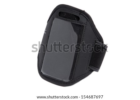 closeup of a black running armband for smartphone on white