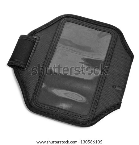 closeup of a black running armband for smartphone or MP3 player on a white background
