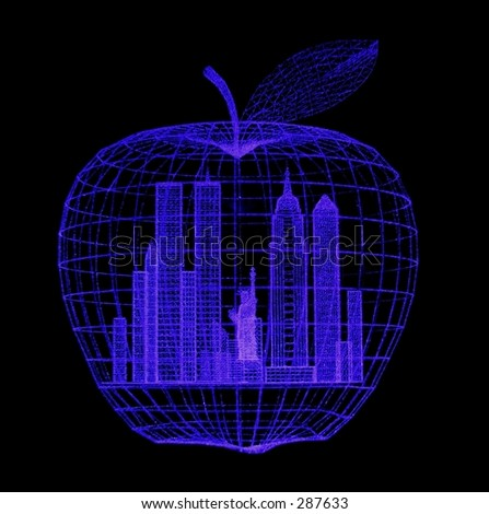 Closeup of a blacklight illuminated acrylic lasered 'Big Apple' ...