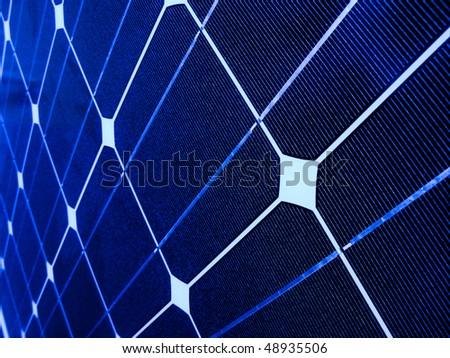 Closeup of a blue photovoltaic solar cell