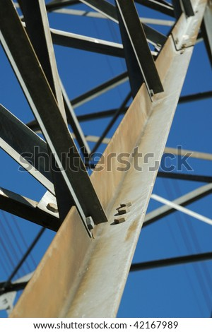 Closeup of a Bolted Steel Connection Plate on a Transmission Tower