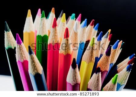 closeup of a bouquet of colored pencils