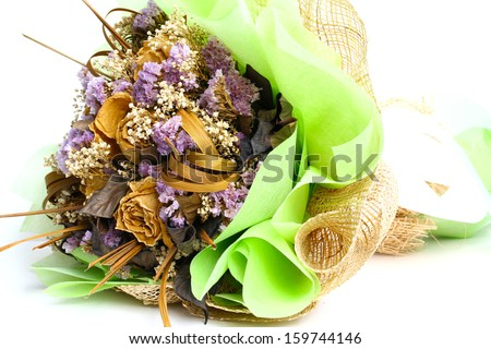 Closeup of a bouquet of dried flowers