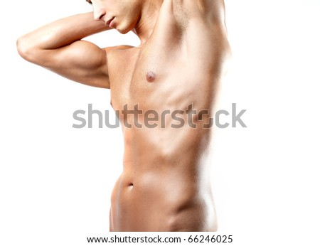 Closeup of a brawny man's torso