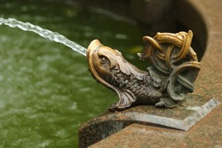 Closeup of a bronze fish statue, traditional fountain decoration