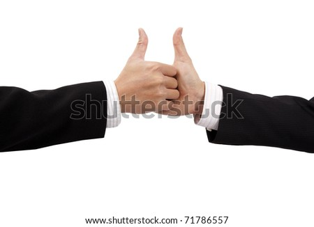 Closeup of a business hand shake and thumb up