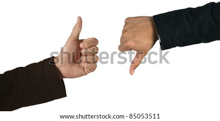 Closeup of a business hand, thumb up and down
