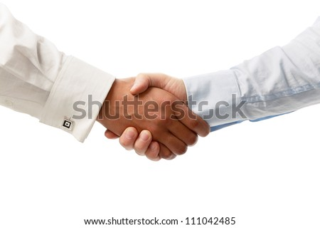 Closeup of a business handshake, isolated on white