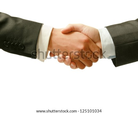 Closeup of a business handshake, isolated on white background