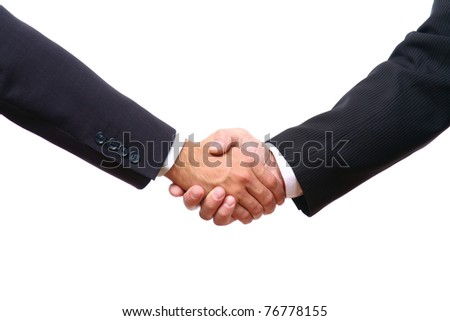 Closeup of a business handshake on white