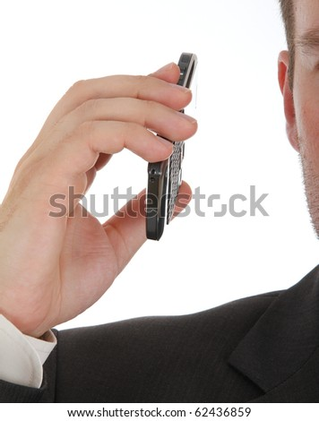 closeup of a businessman holding cellphone, on white background