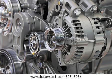 Closeup of a car alternator, component of car electrical system
