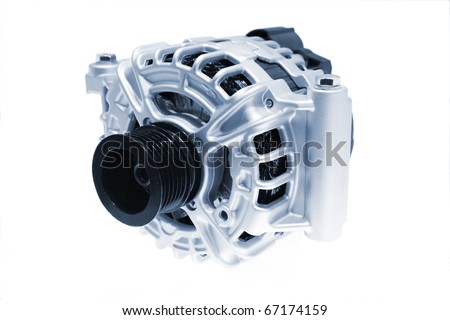Closeup of a car alternator, component of car electrical system - stock photo