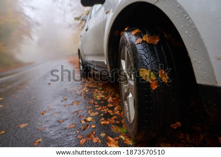 Closeup of a car with leaves stuck on wheels on a wet road in the autumn