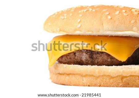 Closeup of a cheeseburger isolated on white background with copyspace