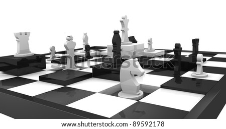 closeup of a chessboard with some squares at different height and some piece over it (3d render)