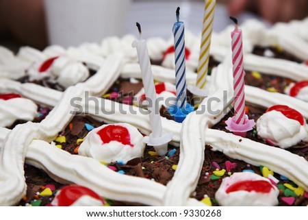 Closeup of a chocolate birthday cake