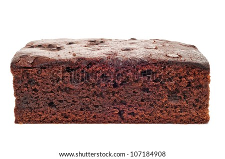 closeup of a chocolate brownie on a white background