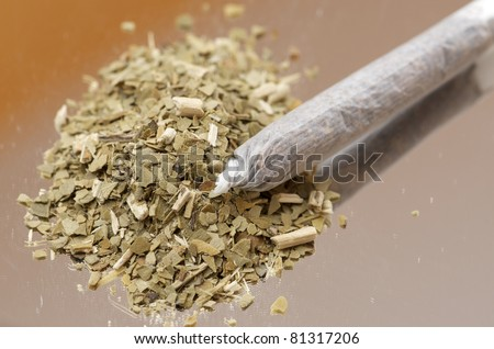 closeup of a  cigarette from hand-rolled marijuana
