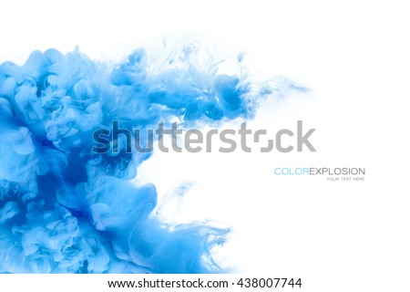 Stock Photo Closeup of a colorful blue acrylic ink in water isolated on white with copy space. Template design. Abstract background. Color explosion. Paint texture.