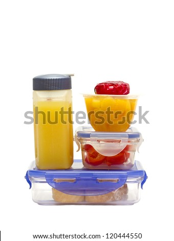 closeup of a colorful lunch in plastic containers