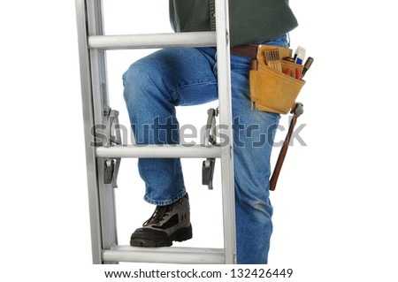 Closeup of a construction worker climbing a ladder. Horizontal format on a white background. Man is unrecognizable.