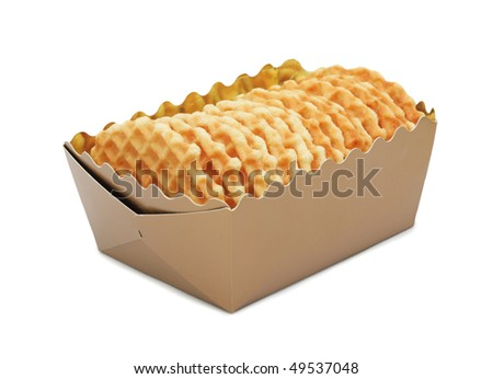 Closeup of a cookies in a box, isolated on a white background