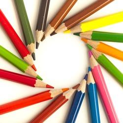 closeup of a crayons circle o white background