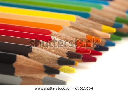closeup of a crayons on a white background