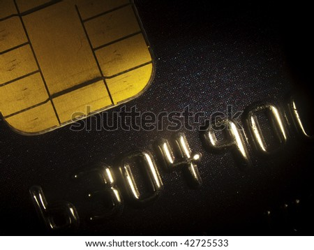 Closeup of a credit card with chip. Shot with microscope