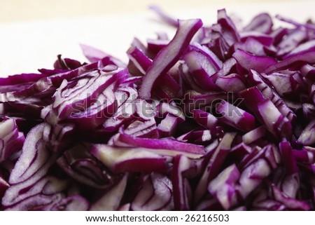 closeup of a cut red cabbage