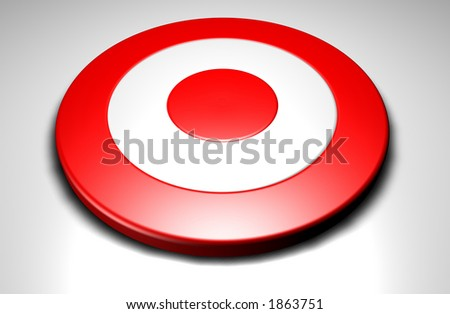 Closeup of a 3d target on a white background