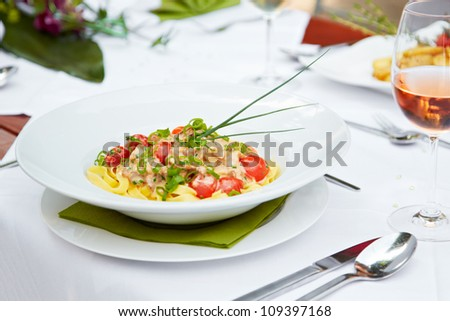 closeup of a delicious pasta meal