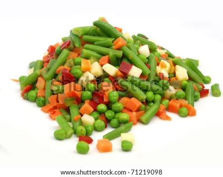 Closeup of a frozen mixed vegetables