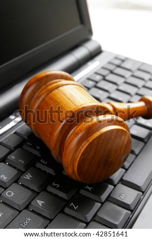 closeup of a gavel on a computer
