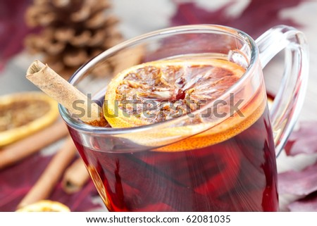 closeup of a glass with hot spiced wine
