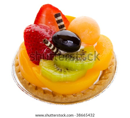 Closeup of a glazed fruit tart on a white background