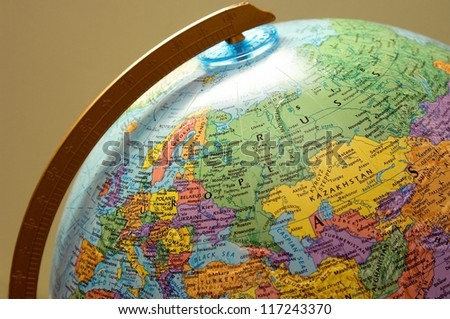 Closeup of a globe
