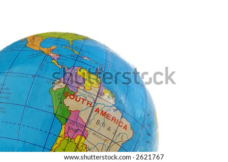 Closeup of a globe isolated on white background