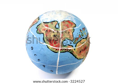 Closeup of a globe showing north america isolated on white