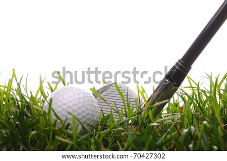 Closeup of a Golf Ball and Iron in tall grass with a white background.