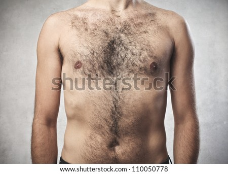 Closeup of a hairy man's chest