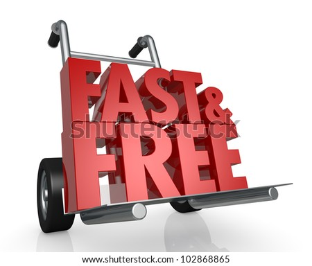 closeup of a hand truck (trolley) and the fast and free text  (3d render)
