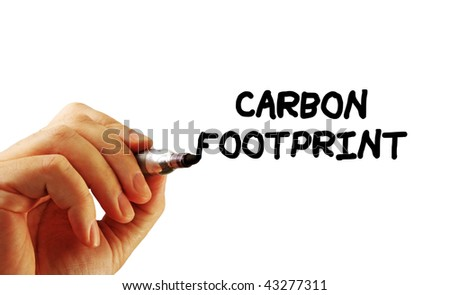 Closeup of a hand writing a message with a marker, possibly for an environmental issue, isolated on a white background.