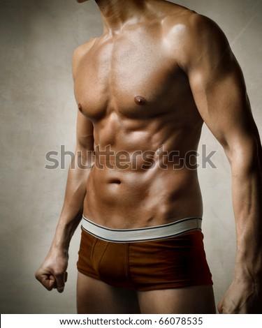 Closeup of a handsome man's torso