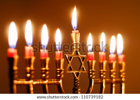 Closeup of a Hanukkah Menorah