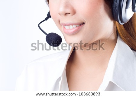 Closeup of a  happy female customer service representative