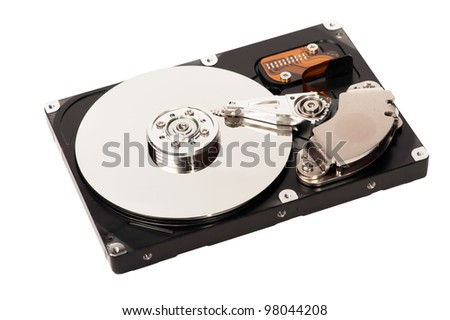 closeup of a hard disk