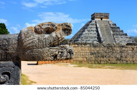Closeup of a  head sculpture in the Mayan city of Chichen Itza in Mexico