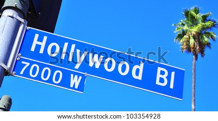 Closeup of a Hollywood Boulevard sign in Hollywood, United States